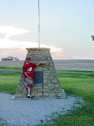 Geographic center of the contiguous United States - The marker located near Lebanon, Kansas