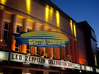 Art release - Film premieres can be elaborate media events, such as this 2012 exhibition of Celebration Day with promotional artwork on the Hammersmith Apollo