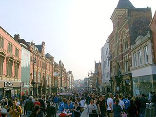Briggate street in Leeds, West Yorkshire, England
