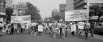Women's liberation march from Farrugut Square to Layfette Park on August 26, 1970.