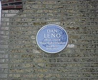 blue plaque commemorating Leno