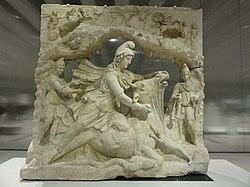 Français: Relief représentant Mithra, dieu iranien du Soleil, sacrifiant le taureau