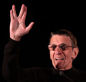 Vulcan salute - Leonard Nimoy demonstrating the Vulcan salute.