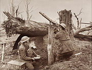 Australian Soldiers firing at enemy planes during World War I.