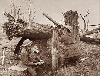 Lewis gun - Australian Soldiers firing at enemy aircraft during the First World War