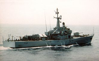 Libyan Navy - A starboard quarter view of a Libyan (Italian-built) Assad class missile corvette underway, 1982.
