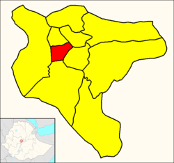 Lideta (red) within Addis Ababa