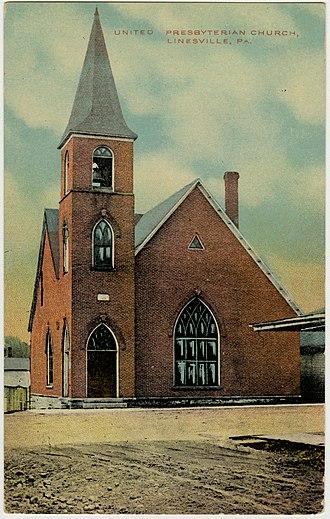 Linesville, Pennsylvania - Presbyterian Church on an old postcard