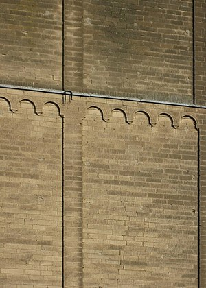 Lesene -  Lesenes, corner lesenes and arch frieze on the tower of Old St. Martin, Kaarst