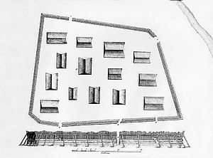 Battle of Sitka - A plan and elevation sketch of the Tlingit fort Shis'kí Noow drawn by Yuri Lisyansky after the Battle of Sitka in 1804. The  Indian River flows through the upper right corner of Lisyansky's drawing.