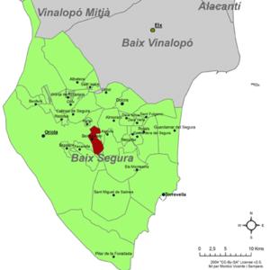 Benejúzar - Image: Localització de Benejússer respecte el Baix Segura