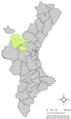 Localització de Llosa del Bisbe respecte del País Valencià.png