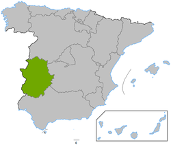 Map of Extremedura