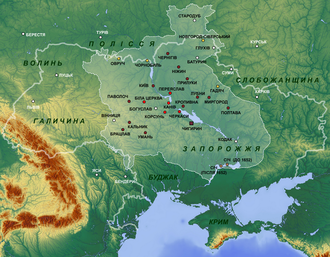 The Hetmanate in 1654 (against the backdrop of contemporary Ukraine) Location of Cossack Hetmanate.png