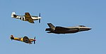 Lockheed Martin F-35A, Supermarine Spitfire Mk.Vc, North American P-51D Mustang (42666408835).jpg