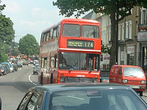 London Buses route 176 - Arriva London Northern Counties Palatine bodied Leyland Olympian in Dulwich in July 2000