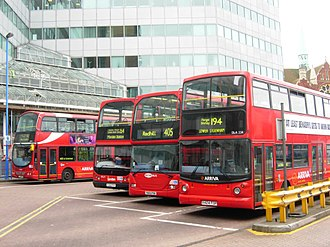 The now demolished West Croydon bus station in June 2007 London buses of Arriva, London General and Metrobus in West Croydon Bus Station, London 27 June 2007.jpg