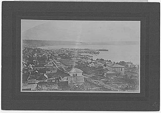 Denny Triangle, Seattle - View of Seattle from Denny Hill in 1882 photograph by Theodore Peiser