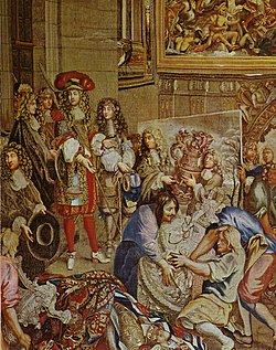 "Louis XIV visits the Gobelins with Colbert, 15 October 1667. Tapestry from the series, ""Histoire du roi"" designed by Charles Le Brun and woven between 1667 and 1672. Articles of Louis XIV's silver furniture are seen in this tapestry."
