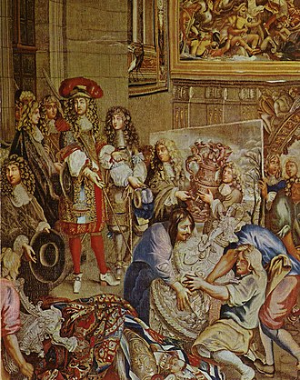 "Palace of Versailles - Louis XIV visits the Gobelins with Colbert, 15 October 1667. Tapestry from the series, ""Histoire du roi"" designed by Charles Le Brun and woven between 1667 and 1672. Articles of Louis XIV's silver furniture are seen in this tapestry."