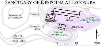 Lycosura - Area shaded purple approximates the sacred precinct
