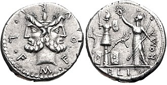 Furia (gens) - Denarius of Marcus Furius Philus, 119 BC.  The obverse bears a head of Janus, while on the reverse Victoria, carrying a sceptre, places a wreath on a military trophy decorated with Gallic equipment and carnyces.