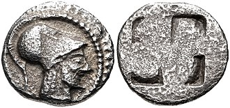 Aeneas - Coinage of Aenea, with portrait of Aeneas. c. 510–480 BCE.