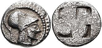 Aenea (city) - Coinage of Aeneia, with portrait of Aeneas.Circa 510-480 BC.