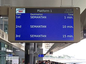 Sungai Buloh–Kajang MRT line - MRT SBK real time passenger information display system (PIDS)