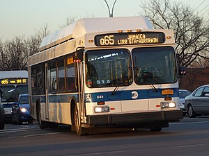 A bus in Q65 service in Queens
