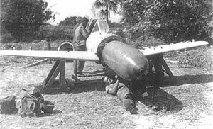 Yokosuka MXY-7 Ohka - US personnel disarming the warhead of an Ohka, Yontan Airfield, Okinawa, April 1945