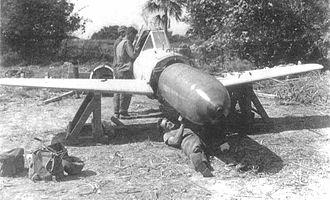 Yokosuka MXY-7 Ohka - US personnel disarming the warhead of an Ohka, Yontan Airfield, Okinawa, April 1945