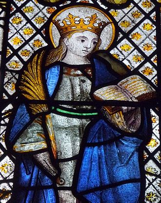 """Mabyn - Mabena depicted on the """"wives' window"""" in St Neot Church"""