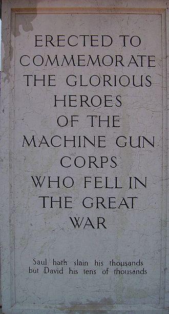 Machine Gun Corps Memorial - Image: Machine Gun Corps Inscription