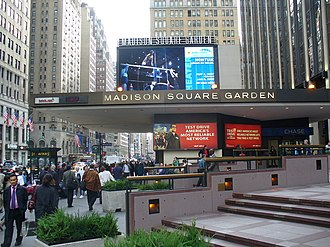 Seventh Avenue (Manhattan) - Madison Square Garden is located between West 31st and 33rd Streets; Pennsylvania Station is under it.
