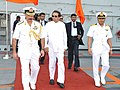 Maithripala Sirisena being received and conducted on the flight deck of INS Vikramaditya by the Rear Admiral Ranveet Singh, NM, Flag Officer Commanding, Western Fleet and Captain Krishna Swaminathan.jpg