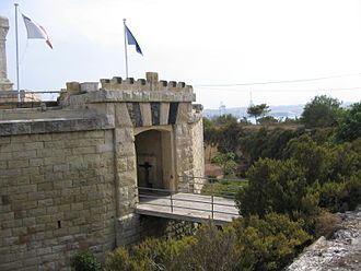 Fort San Lucian - Victorian-era gatehouse and ditch