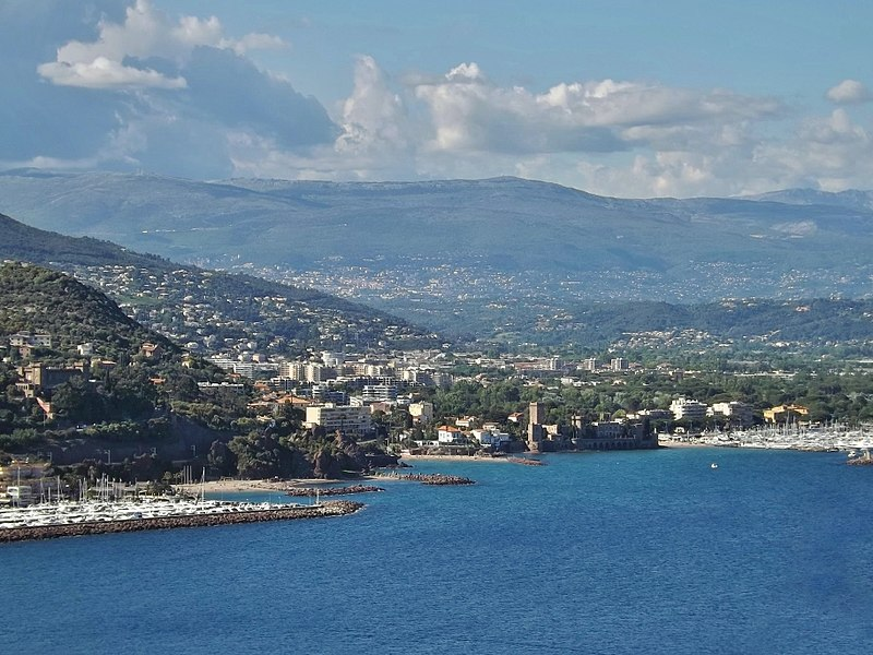 Panoramic sight, from the heights of Théoule-sur-Mer, of the French commune of Mandelieu-la-Napoule, near Cannes on the Riviera Coast in Alpes-Maritimes.