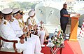 Manohar Parrikar addressing at the commissioning ceremony of the INS Kochi , at Naval Dockyard, in Mumbai on September 30, 2015. The Chief of Naval Staff, Admiral R.K. Dhowan and other dignitaries are also seen.jpg