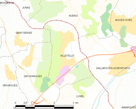 Mapa obce Villetelle