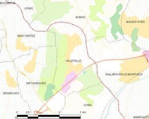 Villetelle - Map