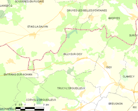 Mapa obce Billy-sur-Oisy