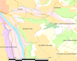 Mapa obce Bonsecours