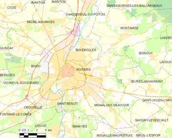 Map of the commune of Poitiers