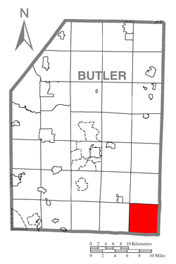 Map of Butler County, Pennsylvania highlighting Buffalo Township