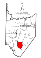 Map of Armstrong County, Pennsylvania highlighting Burrell Township