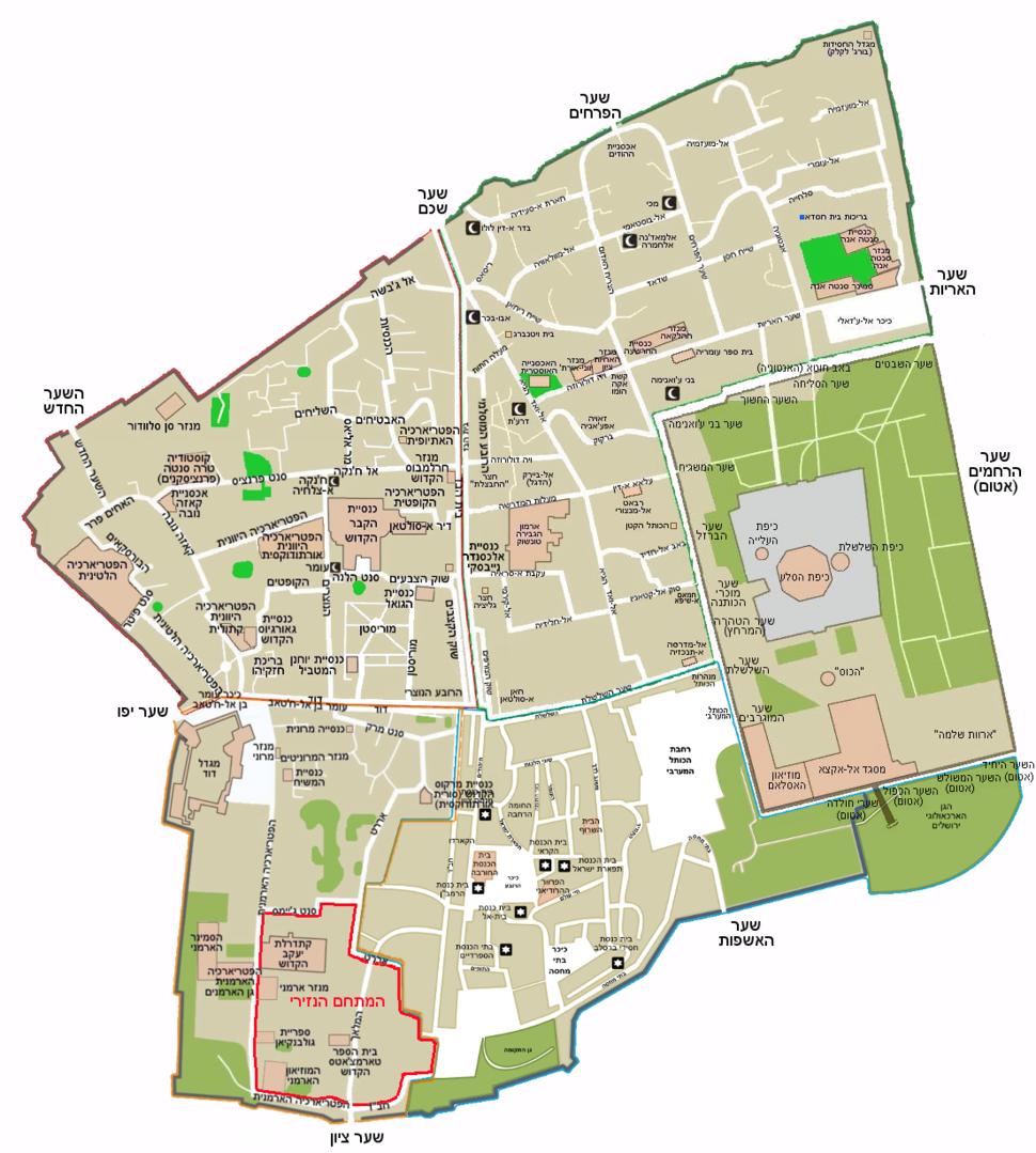 Map of Jerusalem - the old city