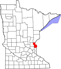 Map of Minnesota highlighting Chisago County.svg