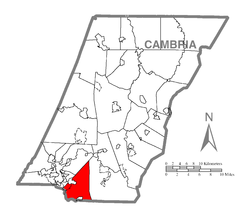 Map of Cambria County, Pennsylvania highlighting Richland Township