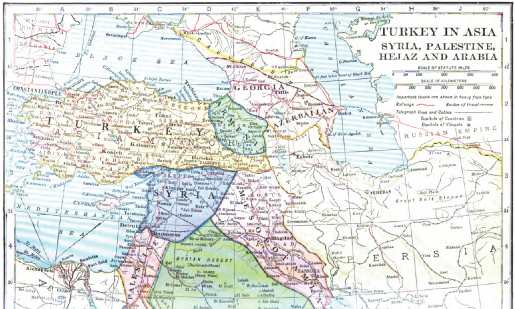 Map of Turkey in Asia, Syria, Palestine, Hejaz and Arabia by Frank Moore Colby